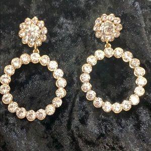 Beautiful Gold & Rhinestone Drop Earrings